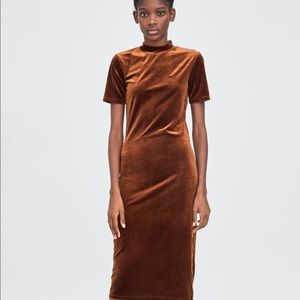 Zara Velvet Mock Neck Dress